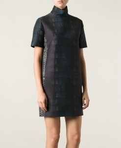 crocodile skin effect printed boxy dress