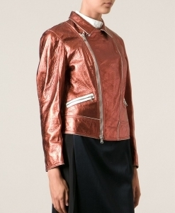 metallic sheen boxy biker jacket